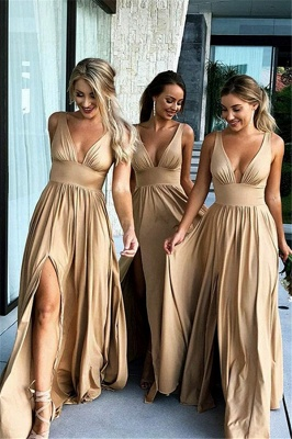 Simple Two Pieces Mermaid Bridesmaid Dresses | Halter Bows A-Line Maid Of The Honor Dresses_1