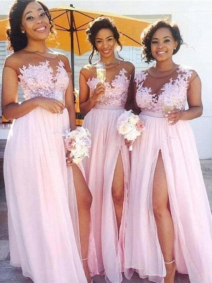 Exquisite Pink Chiffon A-Line Bridesmaid Dresses | Capped Sleeves Side Slit Maid Of The Honor Dresses_1