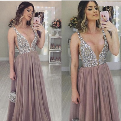 Luxury Tulle A-Line Prom Dresses | Straps Beading Evening Dresses_2