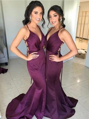 Sexy Slit Mermaid Bridesmaid Dresses | Spaghetti Straps Simple Maid Of The Honor Dresses_1