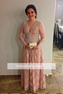 Elegant V-neck Lace Appliques Pearls A-line Long Long-Sleeve the Mother Of Bride Dress_1