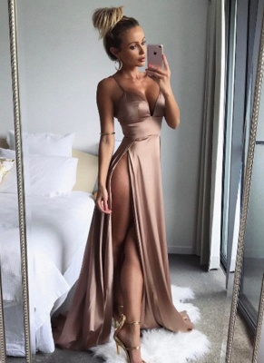 Sexy Champagne Slits Prom Dresses | Spaghetti Straps Backless Party Dresses_1