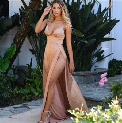 Sexy Champagne Slits Prom Dresses | Spaghetti Straps Backless Party Dresses_3