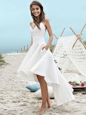 Simple High Low Wedding Dresses | Spaghetti Straps A-Line Beach Wedding Dresses_1