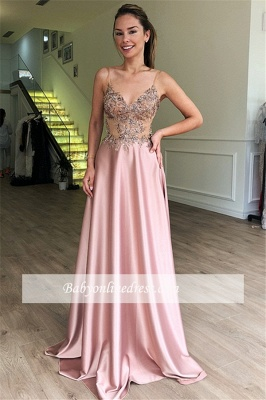 Pink See-Through Appliques Formal Dresses   Sexy Spaghetti-Straps A-Line Cheap Prom Dresses_2