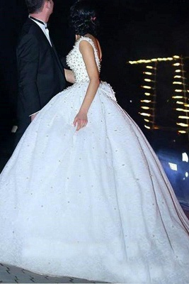 Bridal Scoop A-line Wedding Gowns   Sleeveless Pearls Wedding Dresses_1