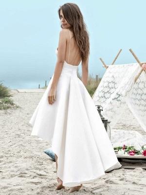 Simple High Low Wedding Dresses | Spaghetti Straps A-Line Beach Wedding Dresses_2