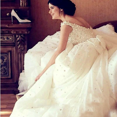 Bridal Scoop A-line Wedding Gowns   Sleeveless Pearls Wedding Dresses_5