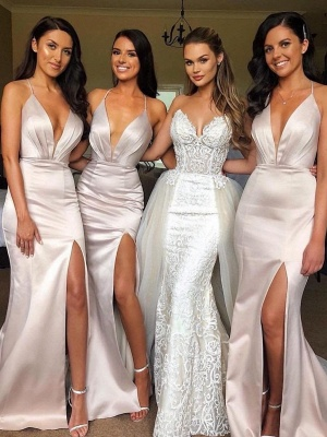Sexy Slit Mermaid Bridesmaid Dresses | Spaghetti Straps Long Wedding Party Dresses_2