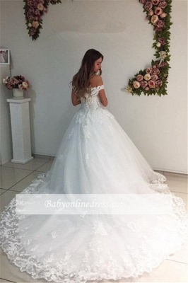 White Ball Gown Wedding Dresses | Off-the-Shoulder Puffy Bridal Gowns_1