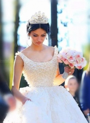 Bridal Scoop A-line Wedding Gowns   Sleeveless Pearls Wedding Dresses_6