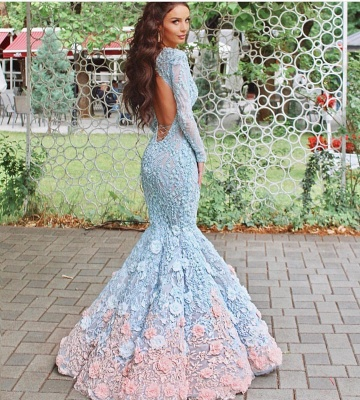 Delicate Bead Flowers Prom Dresses | Long Sleeves Open Back Mermaid Evening Gowns_4