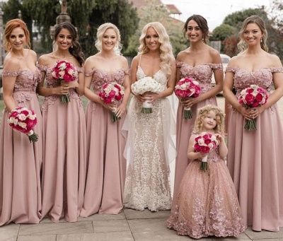 Elegant A-Line Pink Bridesmaid Dresses | Off The Shoulder Lace Appliques Wedding Party Dresses_2