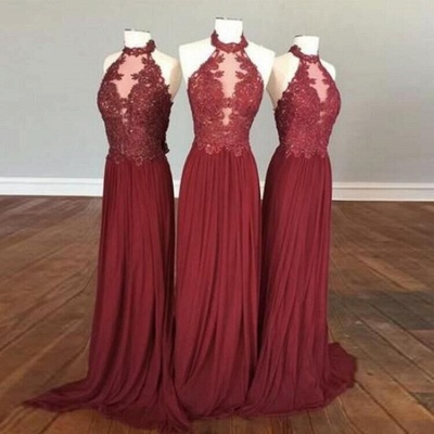 Sexy See Through A-Line Bridesmaid Dresses | Halter Lace Appliques Long Wedding Party Dresses_2
