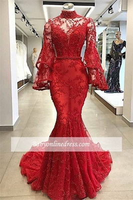 Glamorous Long-sleeves Beading Prom Dresses   High-Neck Lace Appliques Mermaid Evening Gowns_1