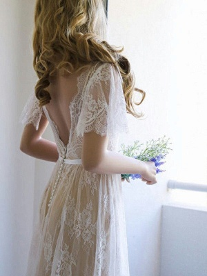 Elegant Lace A-Line Wedding Dresses | V-Neck Short Sleeves Sexy Bridal Gowns_4