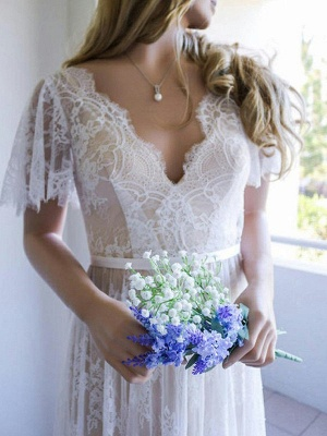 Elegant Lace A-Line Wedding Dresses | V-Neck Short Sleeves Sexy Bridal Gowns_3