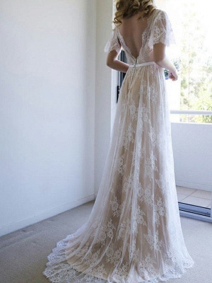 Elegant Lace A-Line Wedding Dresses | V-Neck Short Sleeves Sexy Bridal Gowns_2