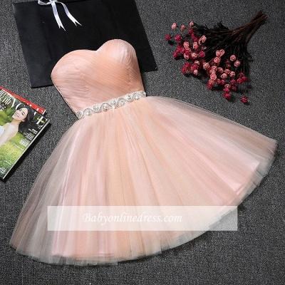 Sweetheart A-Line Ruffles Simple Short Crystal Short Homecoming Dresses_1