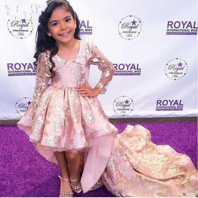 Pink High Low Flower Girl Dress   Lace Girl Pageant Dresses_2