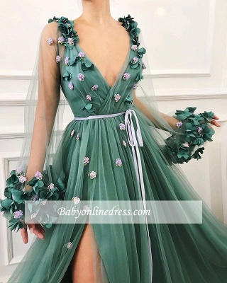 Long-Sleeves A-Line Green Side-Slit Tulle Gorgeous Prom Dress_2