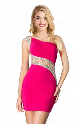 Sexy Mini Sheath Homecoming Dresses One Shoulder Beaded Cocktail Dresses_6