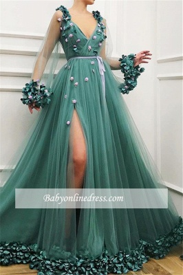 Long-Sleeves A-Line Green Side-Slit Tulle Gorgeous Prom Dress_3