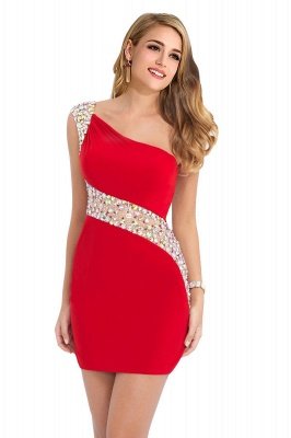 Sexy Mini Sheath Homecoming Dresses One Shoulder Beaded Cocktail Dresses_9