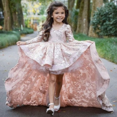 Pink High Low Flower Girl Dress | Lace Girl Pageant Dresses_3