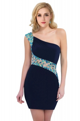 Sexy Mini Sheath Homecoming Dresses One Shoulder Beaded Cocktail Dresses_8