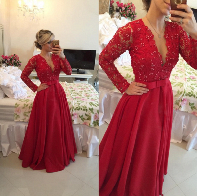 Red Long Sleeves Prom Dresses 2021 V Neck Lace Pearls Floor Length A-line Stunning Evening Gowns_5
