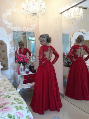 Red Long Sleeves Prom Dresses 2021 V Neck Lace Pearls Floor Length A-line Stunning Evening Gowns_3
