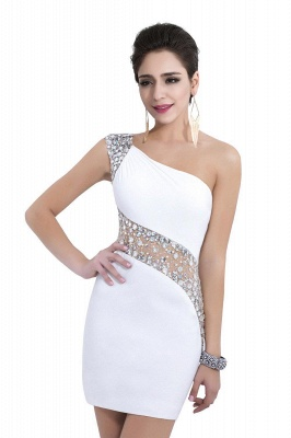 Sexy Mini Sheath Homecoming Dresses One Shoulder Beaded Cocktail Dresses_7