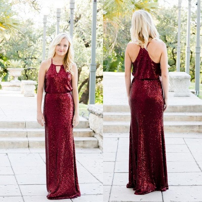 Shiny Sequins Sheath Bridesmaid Dresses | Halter Sleeveless Long Wedding Party Dresses_2