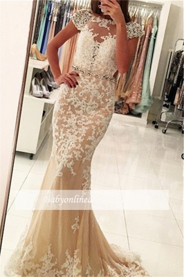 Modest Lace Cap-Sleeves Bateau Mermaid Prom Dresses | Appliques Beading Backless Evening Gowns_3