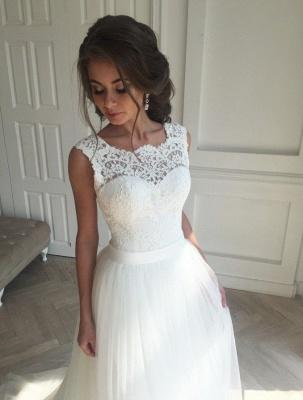Simple Sleeveless Sash Lace Open-Back A-line Wedding Dresses_2