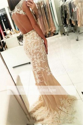 Modest Lace Cap-Sleeves Bateau Mermaid Prom Dresses | Appliques Beading Backless Evening Gowns_2