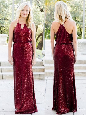 Shiny Sequins Sheath Bridesmaid Dresses | Halter Sleeveless Long Wedding Party Dresses_1
