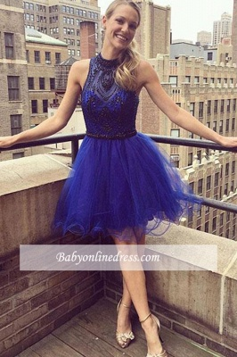 Short Glamorous High-neck Beaded Homecoming Dresses | Blue A-Line Short Gowns_1
