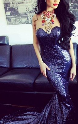 Sexy Sequined Mermaid Prom Dresses 2021 Sweetheart Sweep Train Sleeveless Evening Gowns_1
