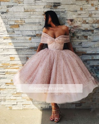 Charming Off-The-Shoulder Short Sleeves Prom Dresses | Tea Length Ball Gown Evening Gowns_2