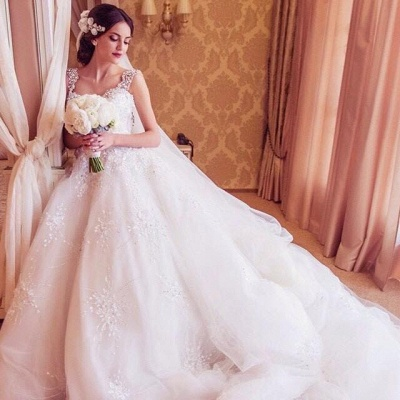 2021 Ball Gown Wedding Dresses Straps Sparkly Crystals Beaded Puffy Luxury Bridal Gowns_3