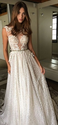 Sexy A-Line Wedding Dresses | Illusion Bodice Lace Appliques Bridal Gowns bc1661_4