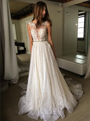 Sexy A-Line Wedding Dresses | Illusion Bodice Lace Appliques Bridal Gowns bc1661_1