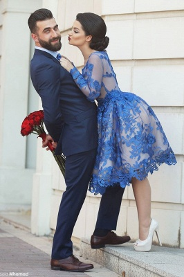 2021 Royal Blue Short Homecoming Dresses Long Sleeves Lace Cocktail Dresses_3
