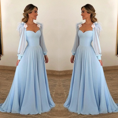 Elegant Sky Blue Prom Dresses | Feathers Long Sleeves A-line Evening Gown_2