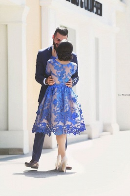 2021 Royal Blue Short Homecoming Dresses Long Sleeves Lace Cocktail Dresses_4