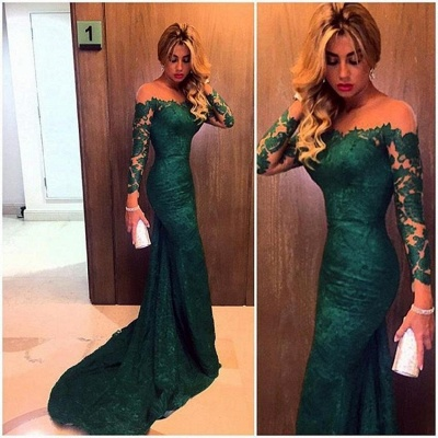 2021 Dark Green Evening Gowns Long Sleeves Lace Elegant Mermaid Prom Dresses_3