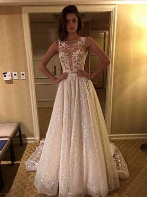 Sexy A-Line Wedding Dresses | Illusion Bodice Lace Appliques Bridal Gowns bc1661_3