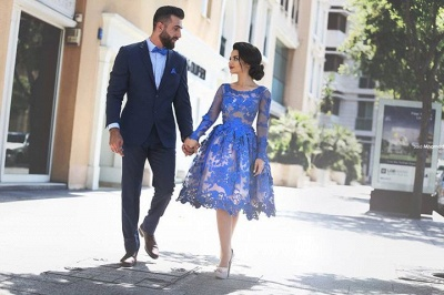 2021 Royal Blue Short Homecoming Dresses Long Sleeves Lace Cocktail Dresses_5